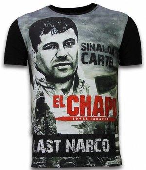 Local Fanatic El Chapo Last Narco - Digital Rhinestone Camisetas Personalizadas - Negro
