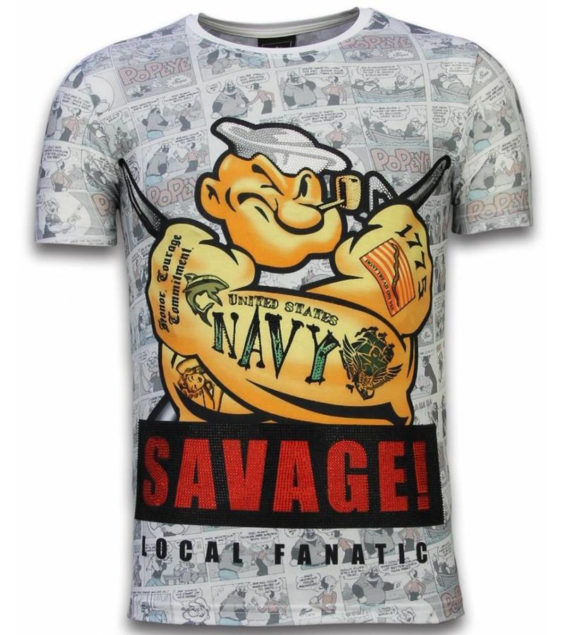 Local Fanatic Popeye Savage - Digital Rhinestone Camisetas Personalizadas - Blanco