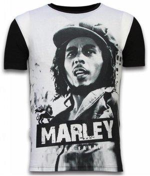 Local Fanatic Bob Marley Black And White - Digital Rhinestone Camisetas Personalizadas - Negro