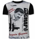 Local Fanatic El Chapo - Digital Rhinestone Camisetas Personalizadas - Negro