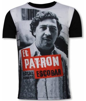 Local Fanatic El Patron Escobar - Digital Rhinestone Camisetas Personalizadas - Negro