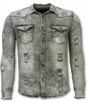Diele & Co Camisa de Mezclilla - Slim Fit Damaged Allover - Gris