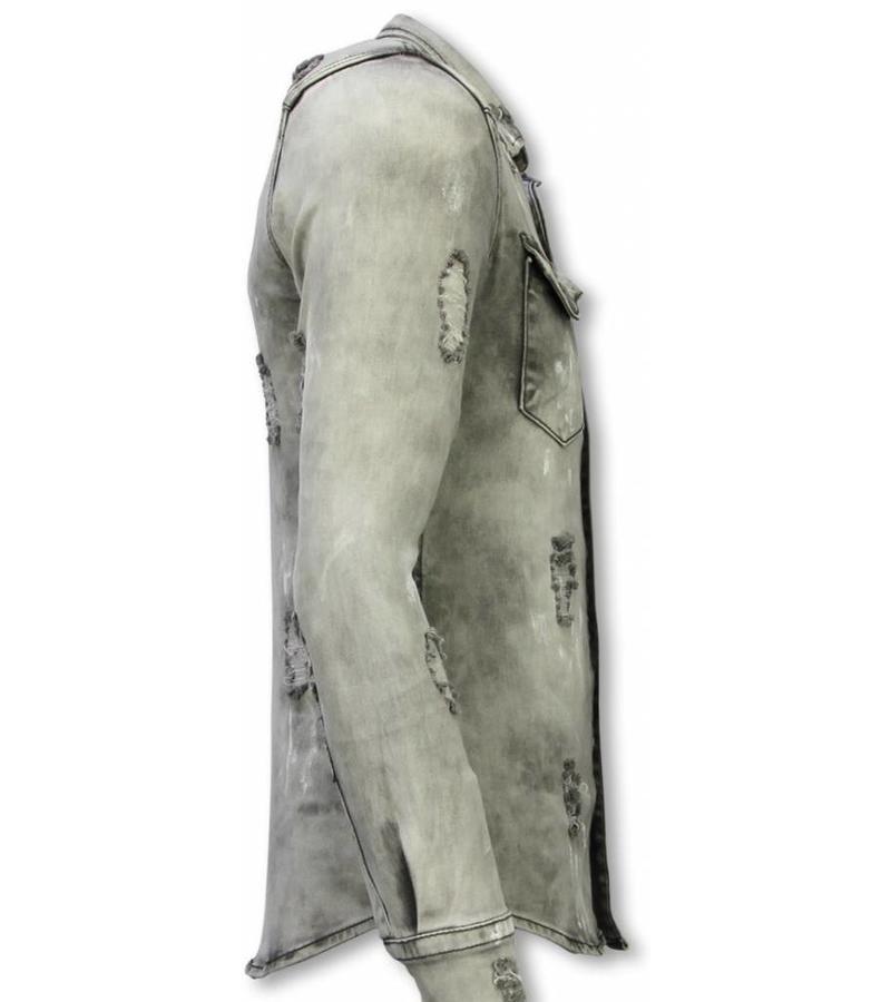 Diele & Co Camisa de Mezclilla - Slim Fit Damaged Allover - Gris