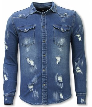 Diele & Co Camisa de Mezclilla - Slim Fit Damaged Allover - Azul