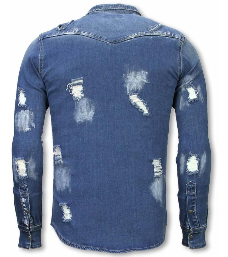 Diele & Co Camisa de Mezclilla - Slim Fit Damaged Allover - Azul