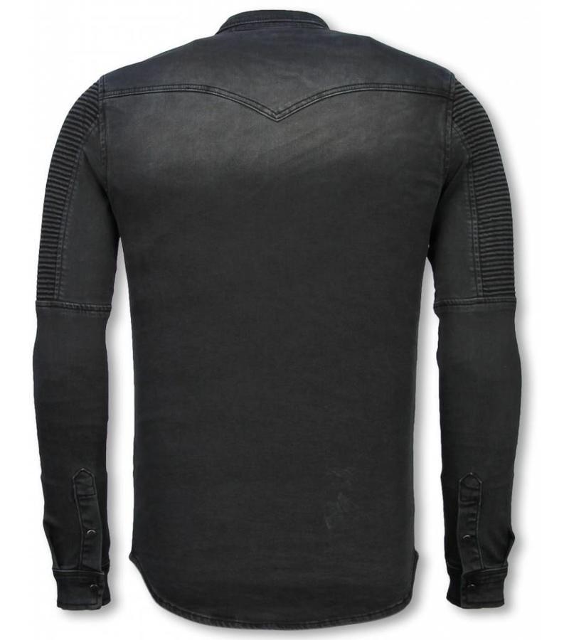 Diele & Co Camisa de Mezclilla - Slim Fit Ribbel Stonewashed - Gris