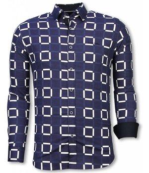 Gentile Bellini Camisa Italiana - Camisa Slim Fit - Camisa Block Pattern - Azul