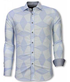 Gentile Bellini Camisa Italiana - Camisa Slim Fit  - Camisa Line Pattern - Azul Claro