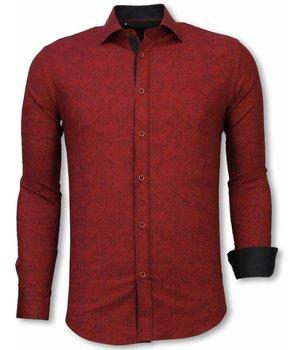 Gentile Bellini Camisa Italiana - Camisa Slim Fit- Camisa Paisley Pattern - Burdeos