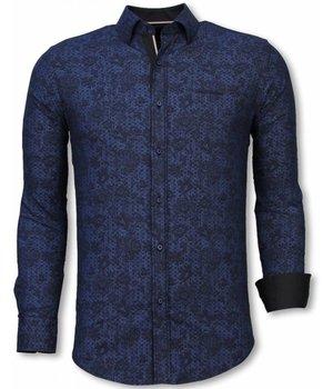 Gentile Bellini Camisa Italiana - Slim Fit Camisa - Camisa Paisley Pattern - Azul
