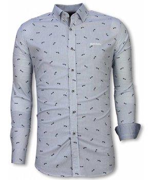 Gentile Bellini Camisa Italiana - Camisa Slim Fit - Camisa Fishbone Pattern - Azul Claro