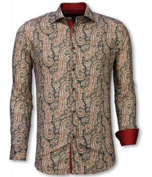 Gentile Bellini Camisa Italiana - Camisa Slim Fit - Camisa Cashemira Paisley Pattern - Verde