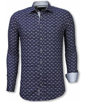 Gentile Bellini Camisa Italiana - Camisa Slim Fit - Camisa Bicycle Pattern - Azul