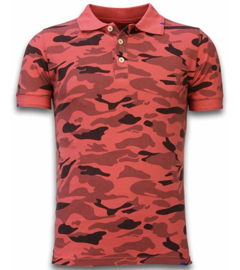 Bread & Buttons Camisa Polo Camo - Washed Camouflage - Rojo