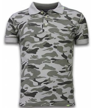 Bread & Buttons Camisa Polo Camo - Washed Camouflage - Gris