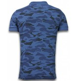 Bread & Buttons Camisa Polo Camo - Washed Camouflage - Azul