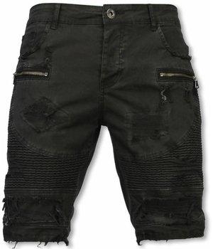 Enos Pantalon Corto - Bermudas Vaqueras Hombre Slim Fit - Damaged Biker Jeans con Cremallera - Negro
