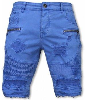 Enos Pantalon Corto - Bermudas Vaqueras Hombre Slim Fit - Damaged Biker Jeans con Cremallera - Azul