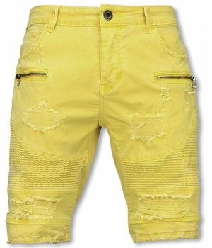 Enos Pantalon Corto - Bermudas Vaqueras Hombre Slim Fit - Damaged Biker Jeans con Cremallera - Amarillo
