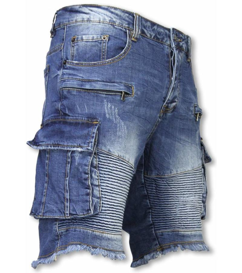 Enos Pantalones Cortos - Bermudas Vaqueras Hombre Slim Fit - Biker Denim Pocket Jeans - Azul