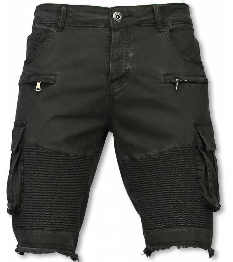 Pantalones Cortos Bermudas Vaqueras Hombre Slim Fit Biker Denim Pocket Jeans Negro Styleitaly Es