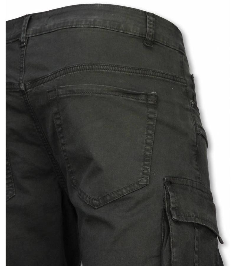 Enos Pantalones Cortos - Bermudas Vaqueras Hombre Slim Fit - Biker Denim Pocket Jeans - Negro