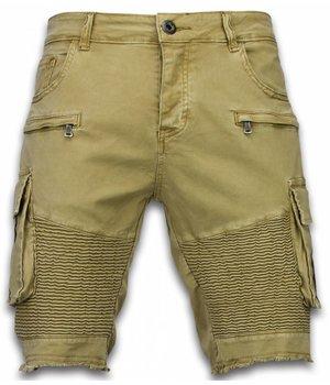 Enos Pantalones Cortos - Bermudas Vaqueras Hombre Slim Fit - Biker Denim Pocket Jeans - Beige