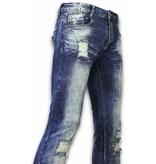 Justing Pantalones de Mezclilla - Vaqueros Slim Fit Damaged Zipper Design - Azul