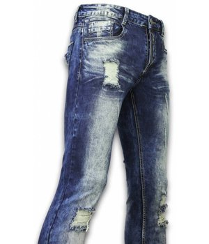 Justing Pantalones de Mezclilla - Vaqueros Slim Fit Damaged Zipper Design - Azul