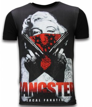 Local Fanatic Gangster Marilyn - Digital Rhinestone Camisetas Personalizadas - Negro