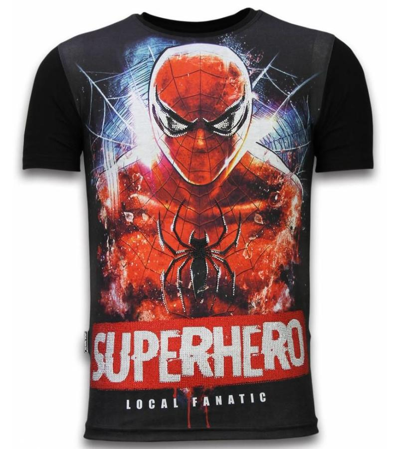 Local Fanatic Superhero - Digital Rhinestone Camisetas Personalizadas - Negro
