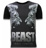 Local Fanatic Beast - Digital Rhinestone Camisetas Personalizadas - Negro