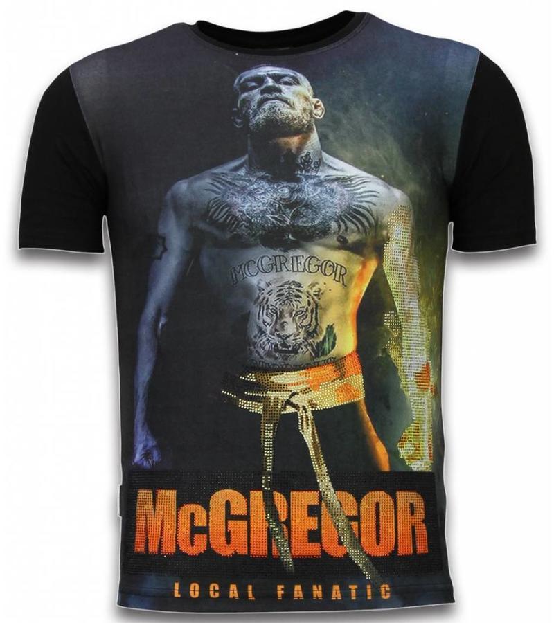 Local Fanatic McGregor Fire Arm - Digital Rhinestone Camisetas Personalizadas - Negro