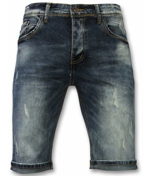 Black Ace Pantalones Cortos Hombre - Short vaquero New Damaged - Azul