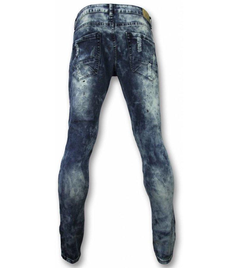 Urban Rags Vaqueros Hombres - Slim Fit Ripped Vaqueros Paint Drops - Azul