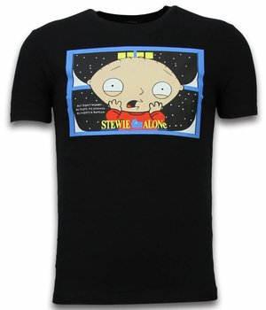 Mascherano Camisetas - Stewie Home Alone - Negro