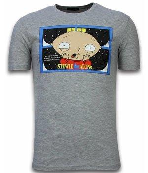 Mascherano Camisetas - Stewie Home Alone - Gris