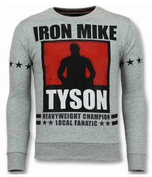 Local Fanatic Mike Tyson Sudaderas - Iron Mike Rhinestone Suéter Hombre -Suéteres Hombres- Gris