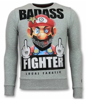 Local Fanatic Mario Sudaderas - Fight Club Rhinestone Suéter Hombre - Gris