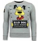 Local Fanatic Bad Dog Sudaderas - Cartoon Rhinestone Suéter Hombre - Gris