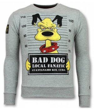 Local Fanatic Bad Dog Sudaderas - Cartoon Rhinestone Suéter Hombre - Gris
