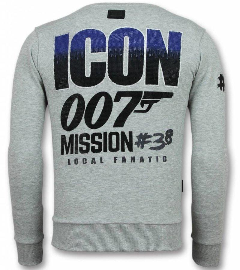 Local Fanatic 007 Sudaderas - James Bond Rhinestone Suéter Hombre -Suéteres Hombres- Gris