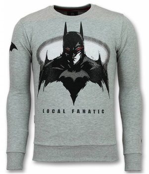 Local Fanatic Batman Sudaderas - Batman Rhinestone Suéter Hombre - Gris