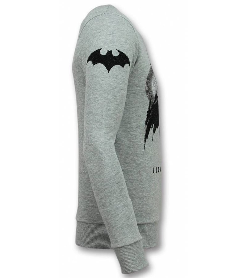 Local Fanatic Batman Sudaderas - Batman Rhinestone Suéter Hombre - Gris