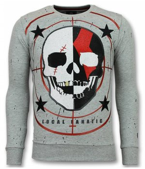 Local Fanatic Skull Sudaderas - God of War Rhinestone Suéter Hombre - Gris