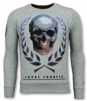 Local Fanatic Sudaderas Hombre - Skull Sweater Hombre- Gris