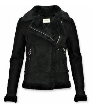 Z-design Abrigo Lammy Muje - Bikerjack Mujer - Chaqueta de Gamuza - Negro