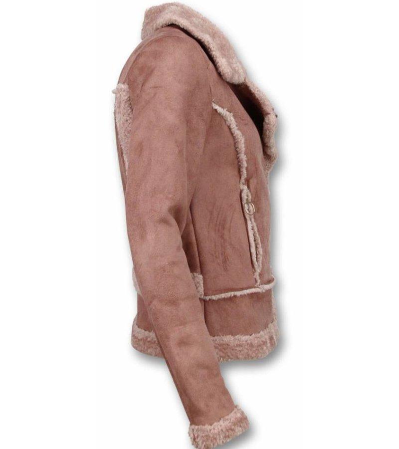 Z-design Abrigo Lammy Muje - Bikerjack Mujer - Chaqueta de Gamuza - Rosa