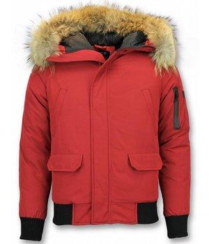 Enos Parkas Hombre - Parkas Cuello de Piel -  Canada - Rojo