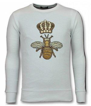 UNIMAN Flock Print Sudaderas - Royal Bee Sudaderas Hombre - Blanco